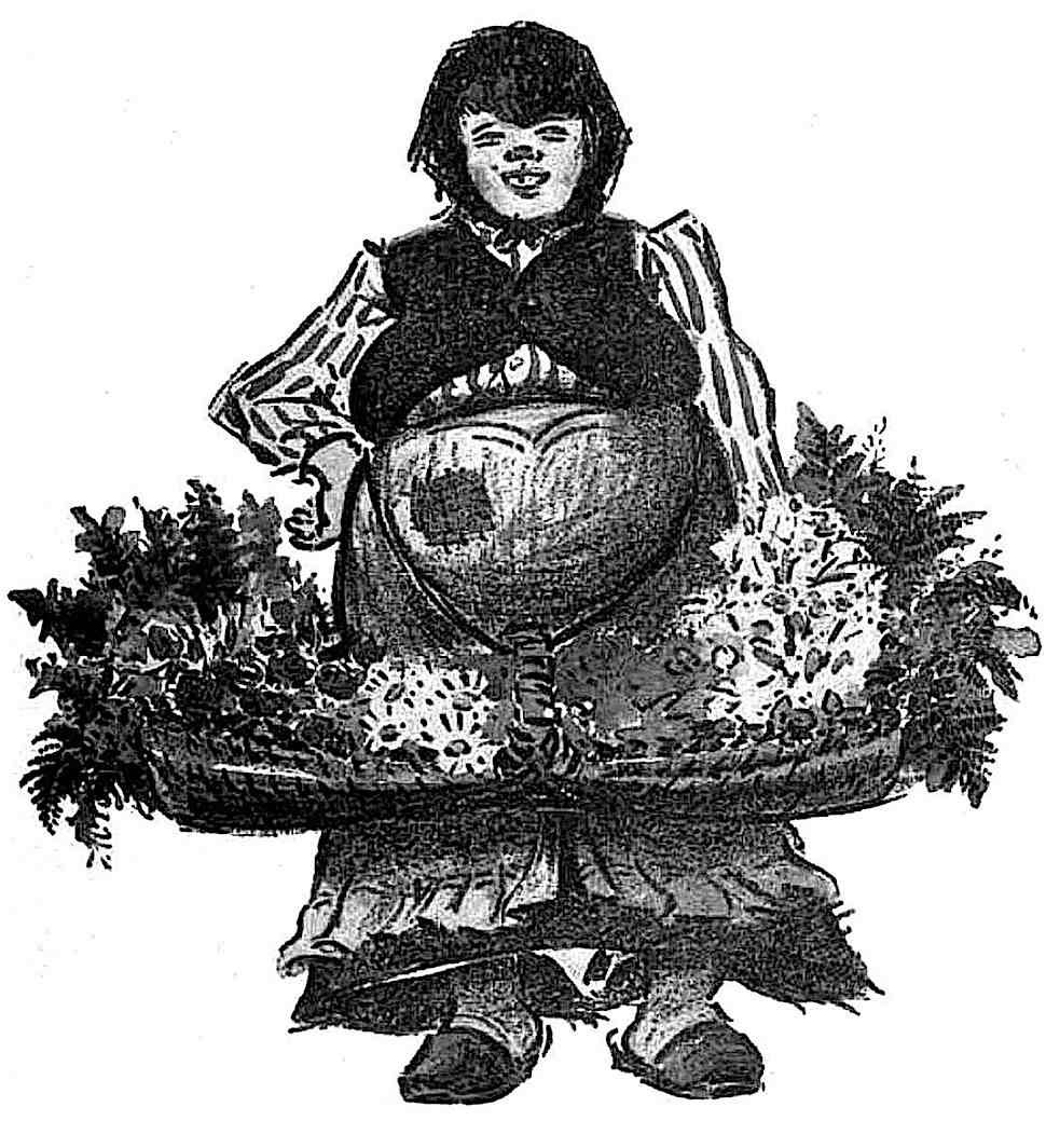 a drawing by Heinrich Zille of a sturdy flower girl selling in the street