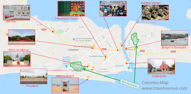 Map for Tourists and Travel with things to see in Cotonou