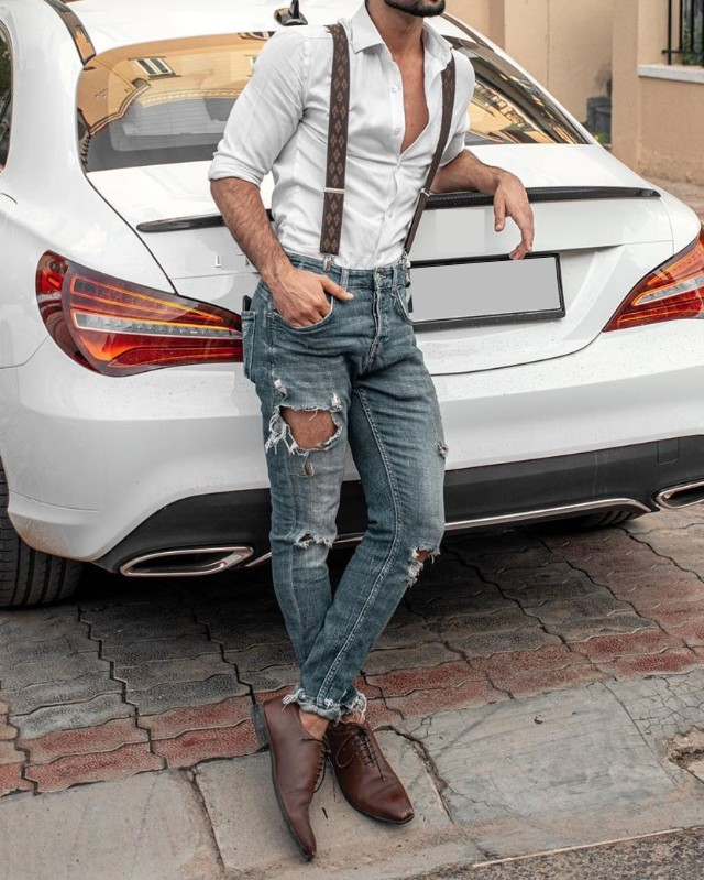 Suspenders with shirt and jeans