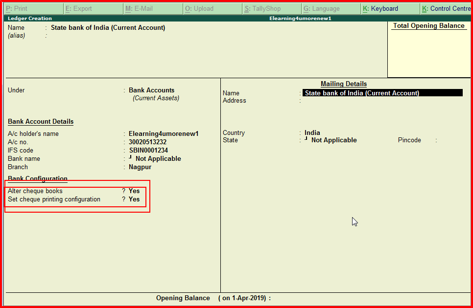 how to enter bank details in tally erp 9