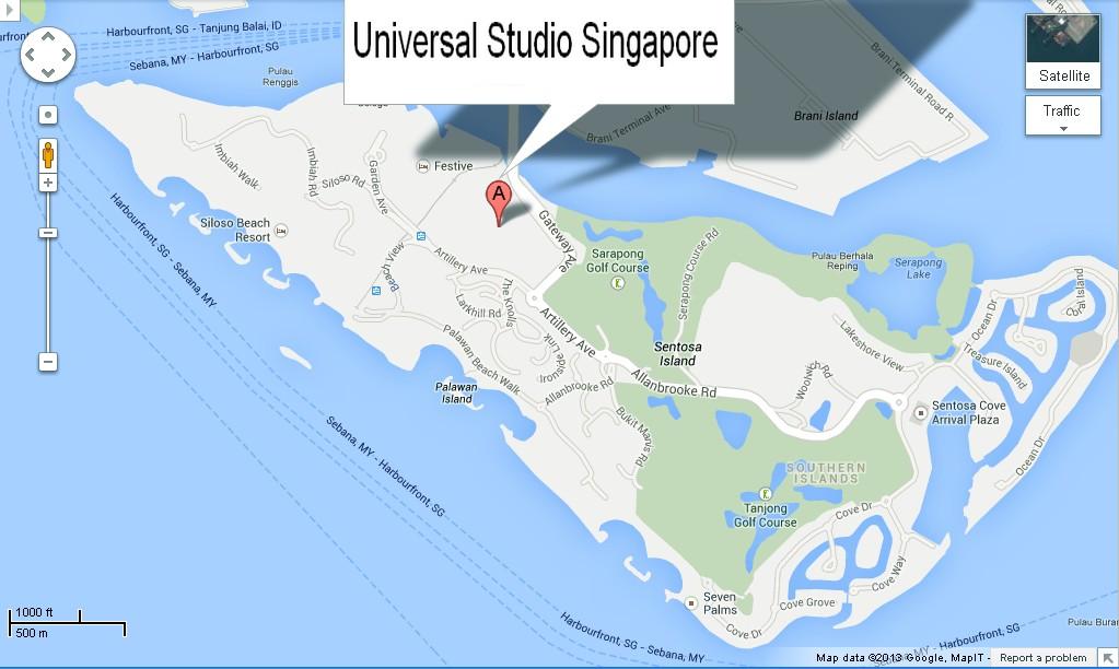 Location Map Of Universal Studio Singapore For Travelers