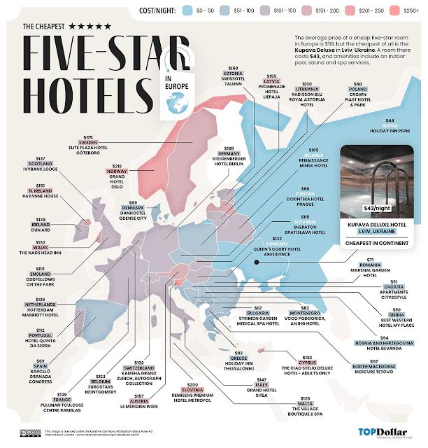 Os hotéis de 5 estrelas mais baratos em todo o mundo