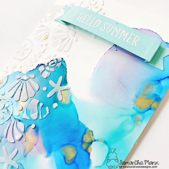 Hello Summer Cards by Samantha Mann | Seashells Stencil, Seashell Roundabout Stamp Set and Banner Trio Die Set by Newton's Nook Designs #newtonsnook #handmade