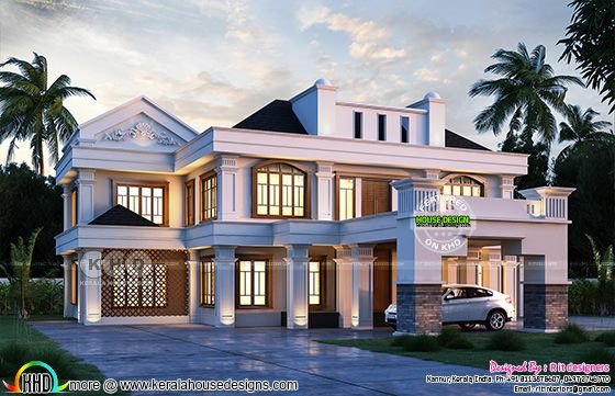Colonial mix luxurious house night view rendering