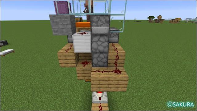 Minecraft 自動小麦畑兼取引所の背面