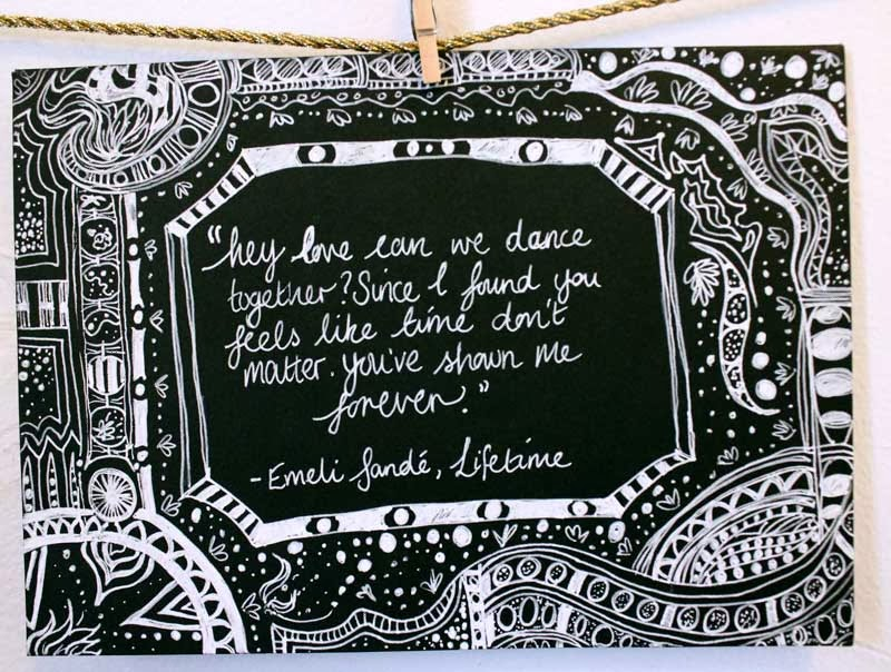 Emeli Sande lyrics on hand drawn patterned wedding card by the lemon hive