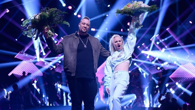 Nano y Ace Wilder tras ganar la primera semifinal del Melodifestivalen (Photo: Stina Stjernkvist/SVT)