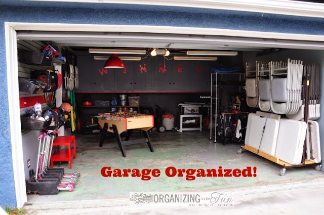 Organizing Garage in red and gray :: OrganizingMadeFun.com