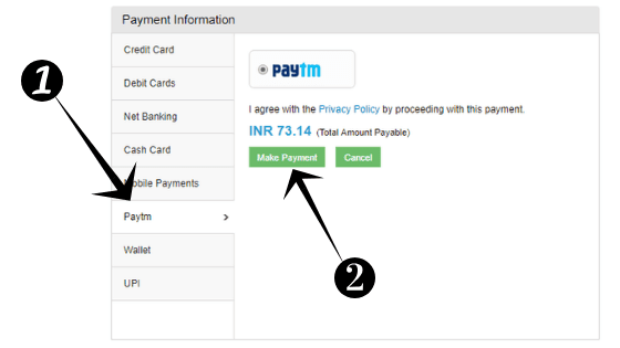 এখন আপনি আপনার payment option নির্বাচন করুন যেমন আমরা PayTm select নির্বাচন করেছি।