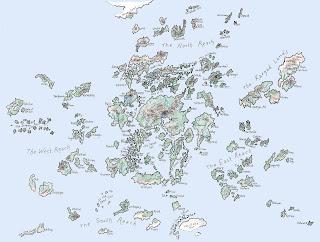 Mapa del mundo de Terramar, compuesto por numerosas islas.