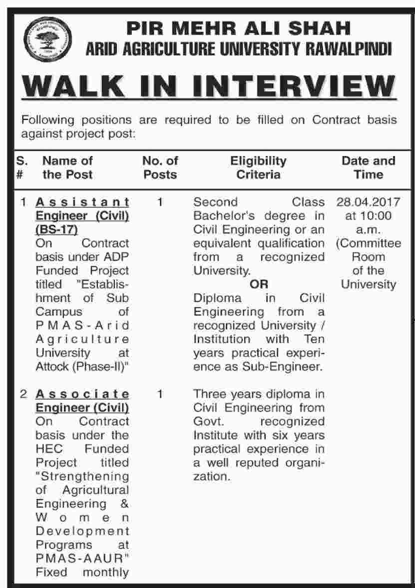 Rawalpindi Jobs In  Pir Mehr Ali Shah Arid Agriculture University 24 Apr 2017