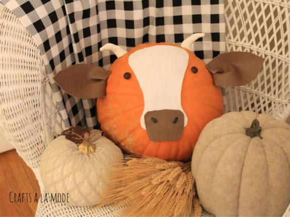 DIY Fun Farm Animal Pumpkin Cow -  EASY, FUN
