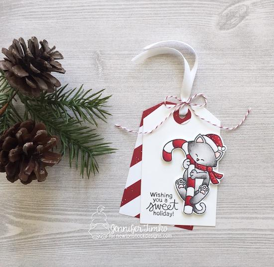 Peppermint Kitty Tag by Jennifer Timko | Newton's Candy Cane Stamp Set and Fancy Edges Tag Die Set by Newton's Nook Designs #newtonsnook #handmade