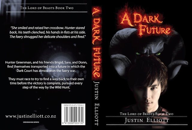 """A Dark Future"" author: Justin Elliott, cover designer: Kura Carpenter"