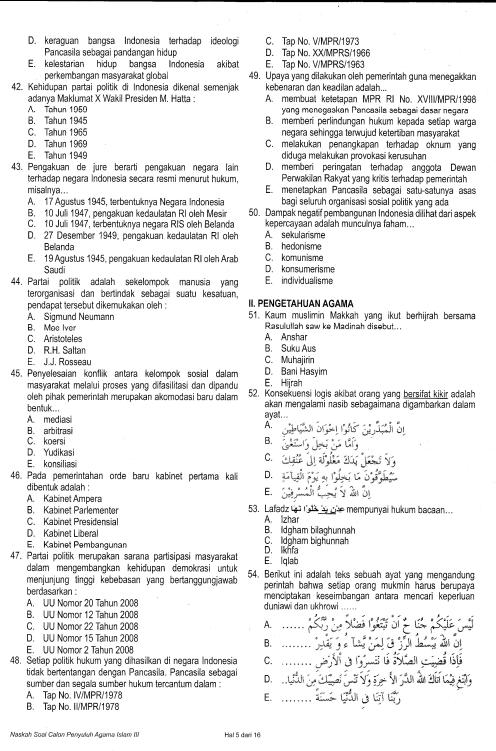 Download Contoh Soal Dan Pembahasan Latihan Tes Tenaga Penyuluh Agama Islam Non Pns Info