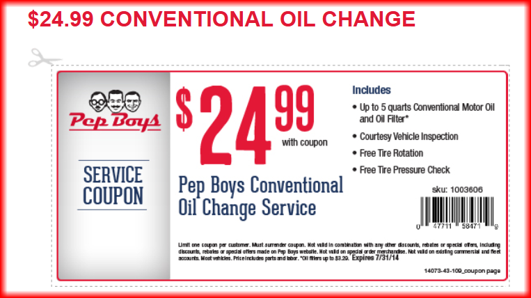 How to Save at Pep Boys. Look for coupons before you shop for Pep Boys auto parts or service. You may be able to find deals such as 10% off auto repairs, 10% off select Champions parts or 15% off select motor oil and transmission fluid. Take advantage of deals on Pep Boys tires.