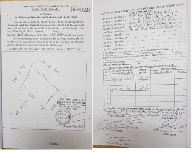 Biên bản xác định ranh giới mốc giới làm giả mạọ của cán bộ Văn phòng ĐKĐĐ