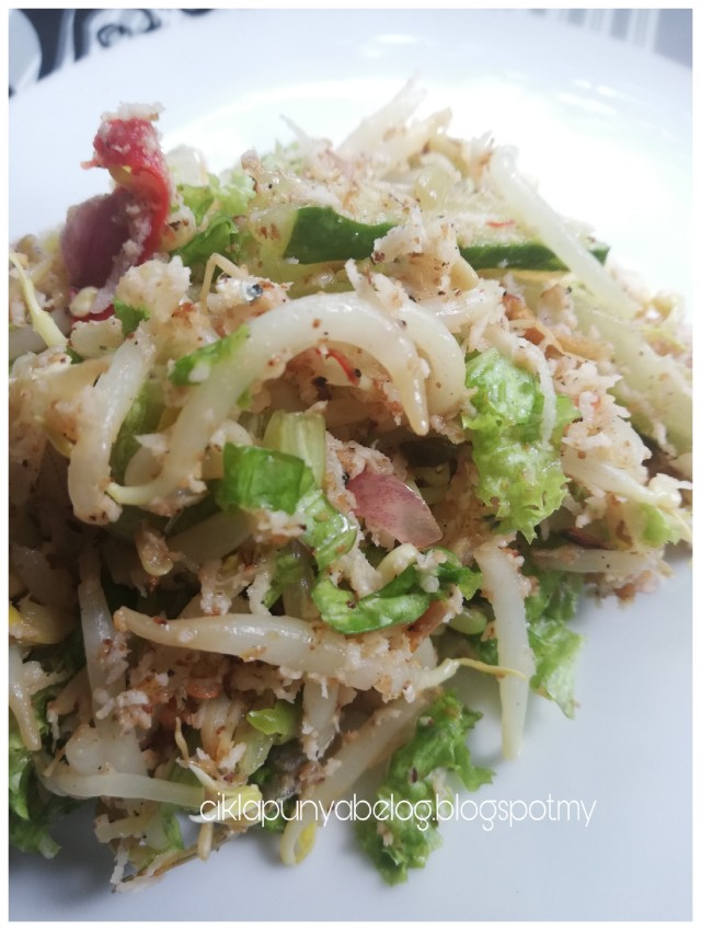 Kerabu taugeh dengan salad, simple dan sedap!