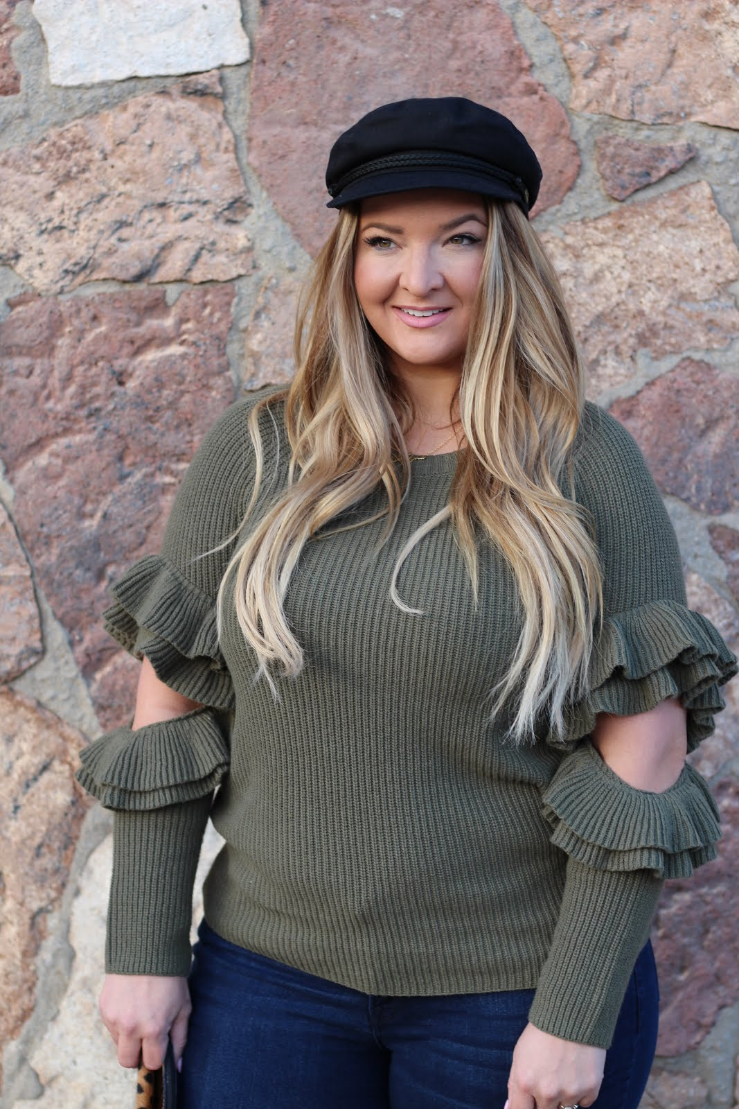 Green & Black Captain hat by popular Denver fashion blogger Delayna Denaye