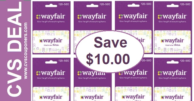 FREE $10 off Wayfair Gift Card Offer at CVS