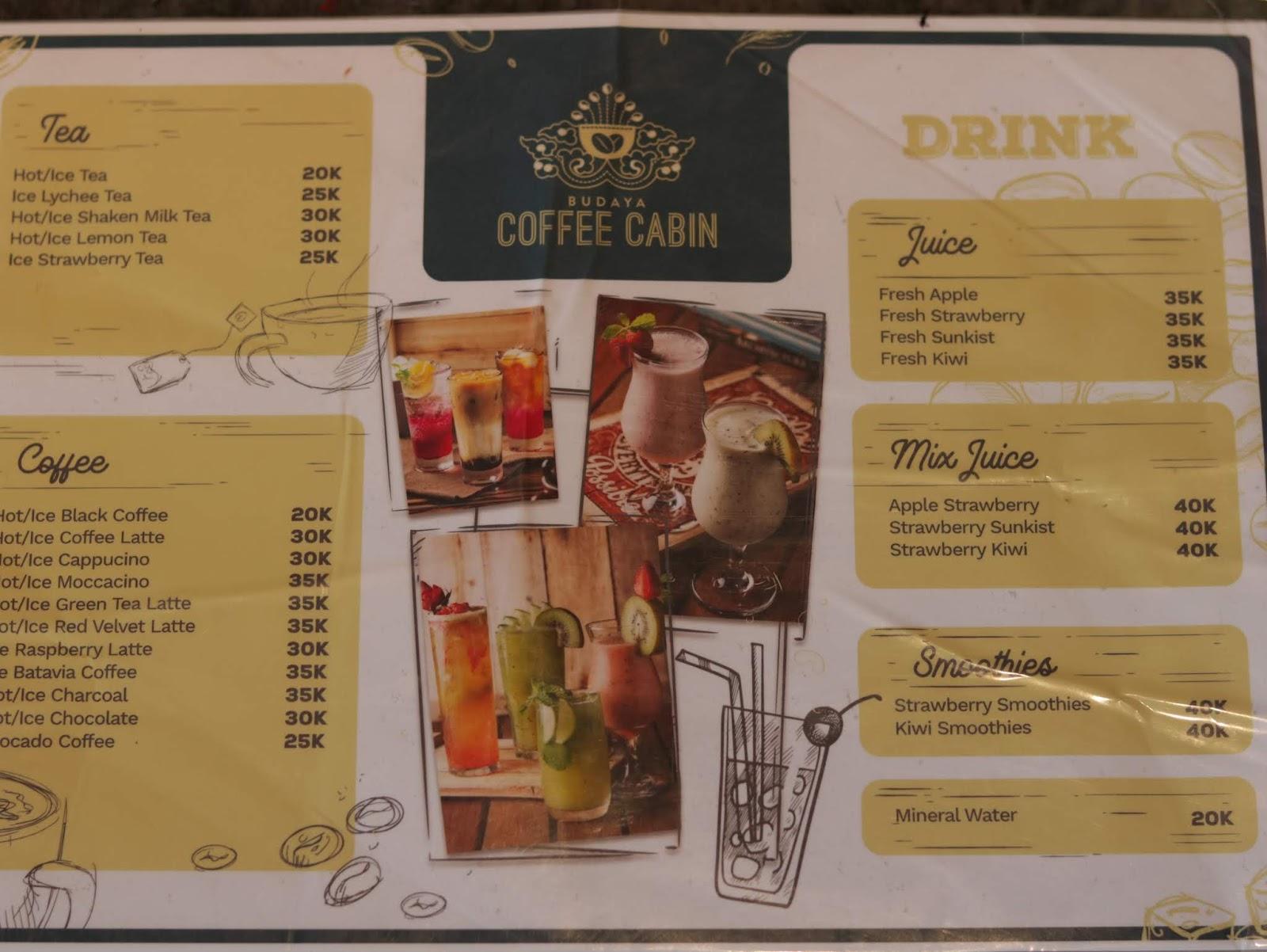 beragam menu minuman di coffecabin budayaland