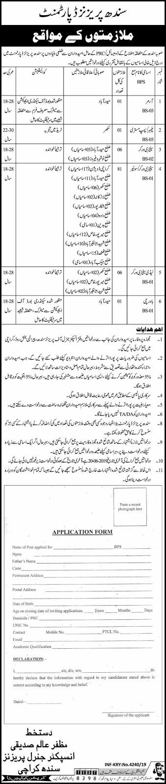 Sindh Prisons Department 01 Aug 2019