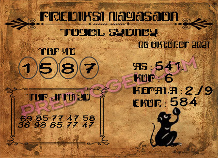 Prediksi Nagasaon Togel Sidney Top Rabu 06-Okt-2021