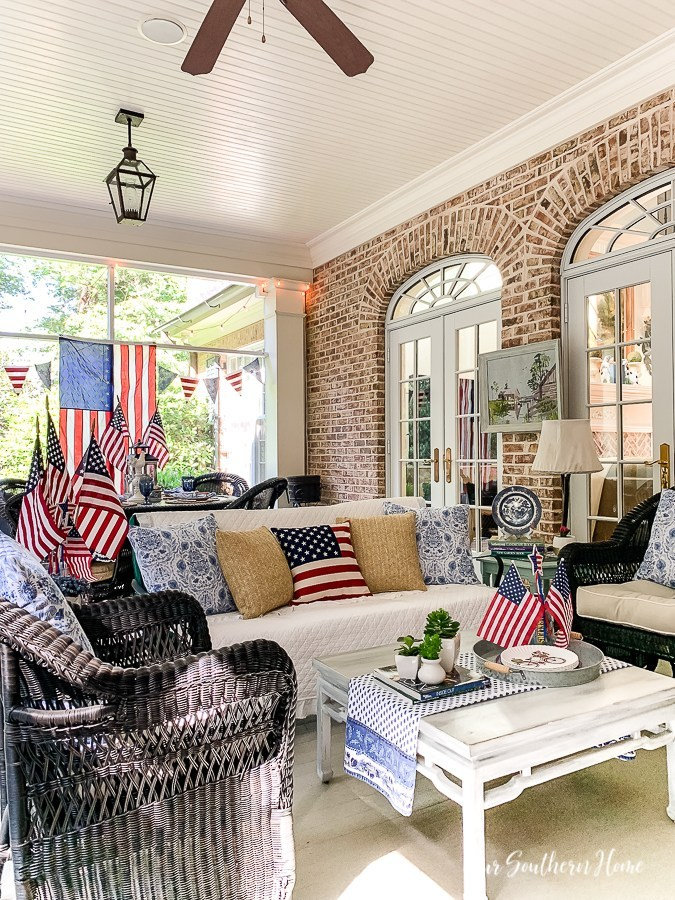 red, white and blue decor in the porch