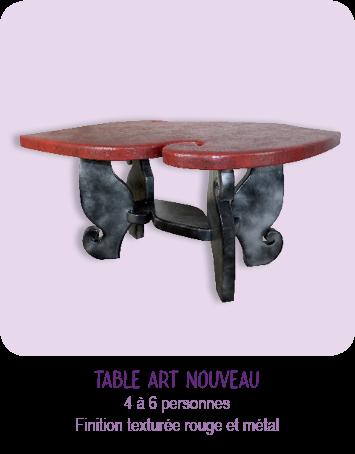 Table  en carton recyclé, très légère, finitions : peinture rouge et effets de matières, pieds avec effet métal, forme moderne et originale. Mobilier artisanal entièrement fait main par © CARTONS DUDULLE.
