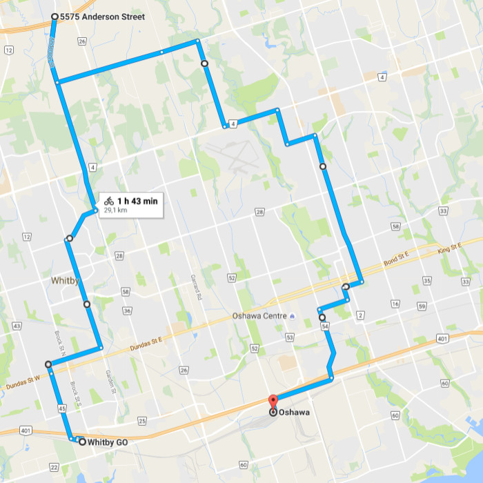 Two Wheeled Politics Beyond Ajax Cycling In Whitby And Oshawa - Map of oshawa streets
