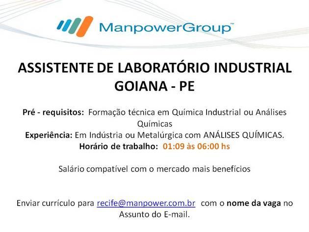 Oportunidade: Vagas de emprego para Assistente de Laboratório Industrial e Eletromecânico
