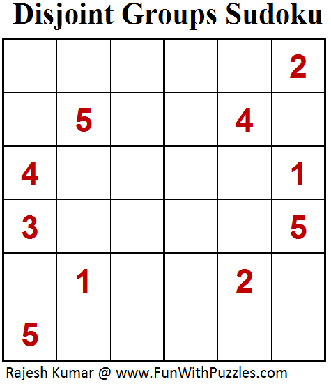 Disjoint Groups Sudoku (Mini Sudoku Series #69)