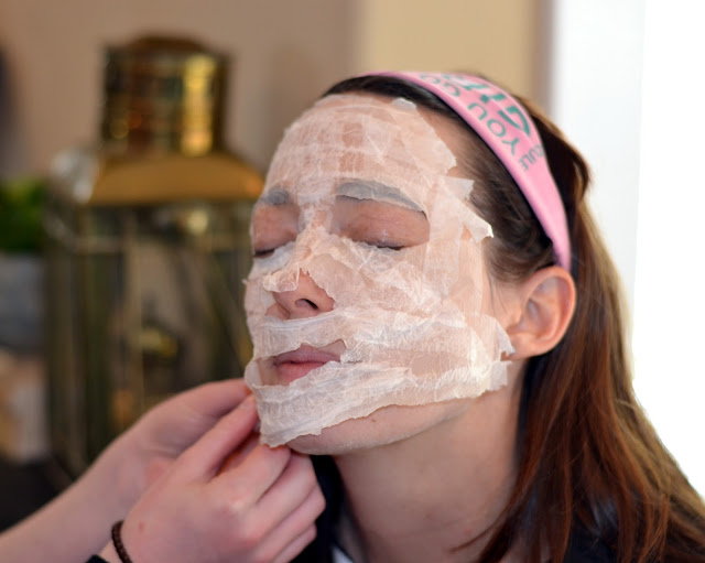 Face mask that's homemade from toilet paper and egg whites.