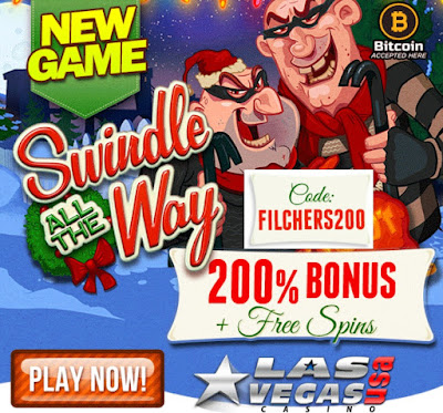 Las Vegas USA casino 200% bonus and 10 free spins in Swindle all the Way slot