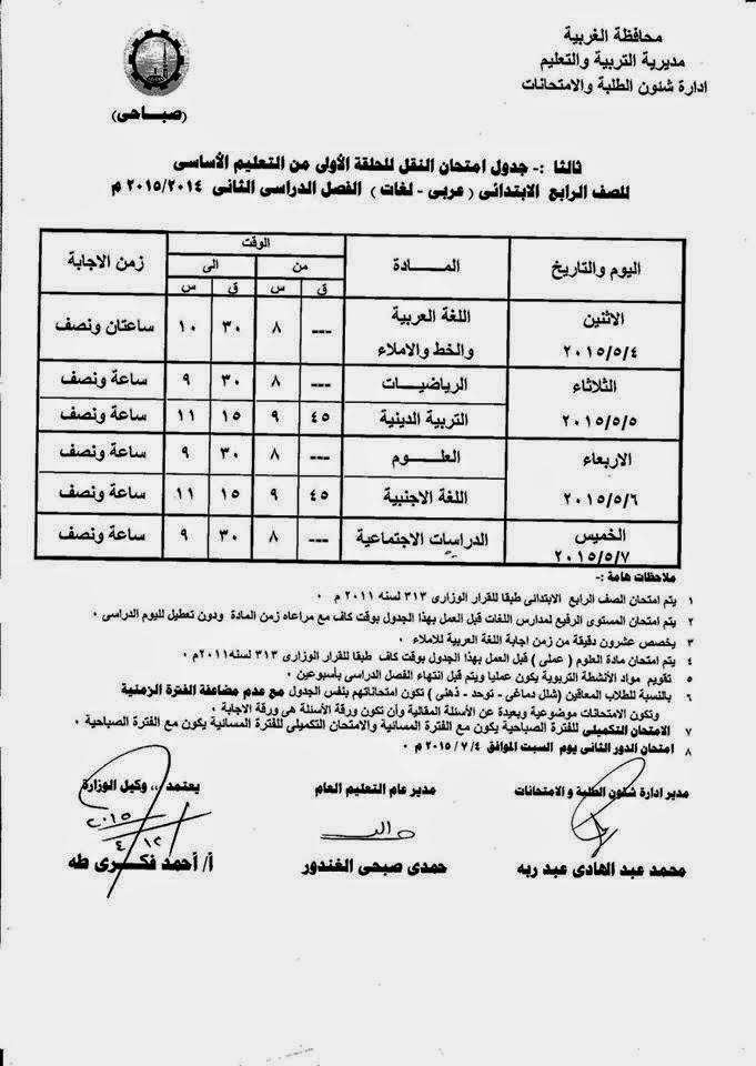 جداول امتحانات كل فرق الغربية أخر العام2015 10991407_10941184539