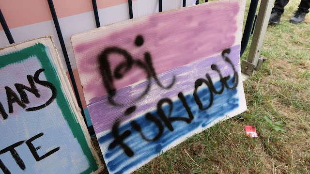 A pink, purple and blue poster saying Bi Furious
