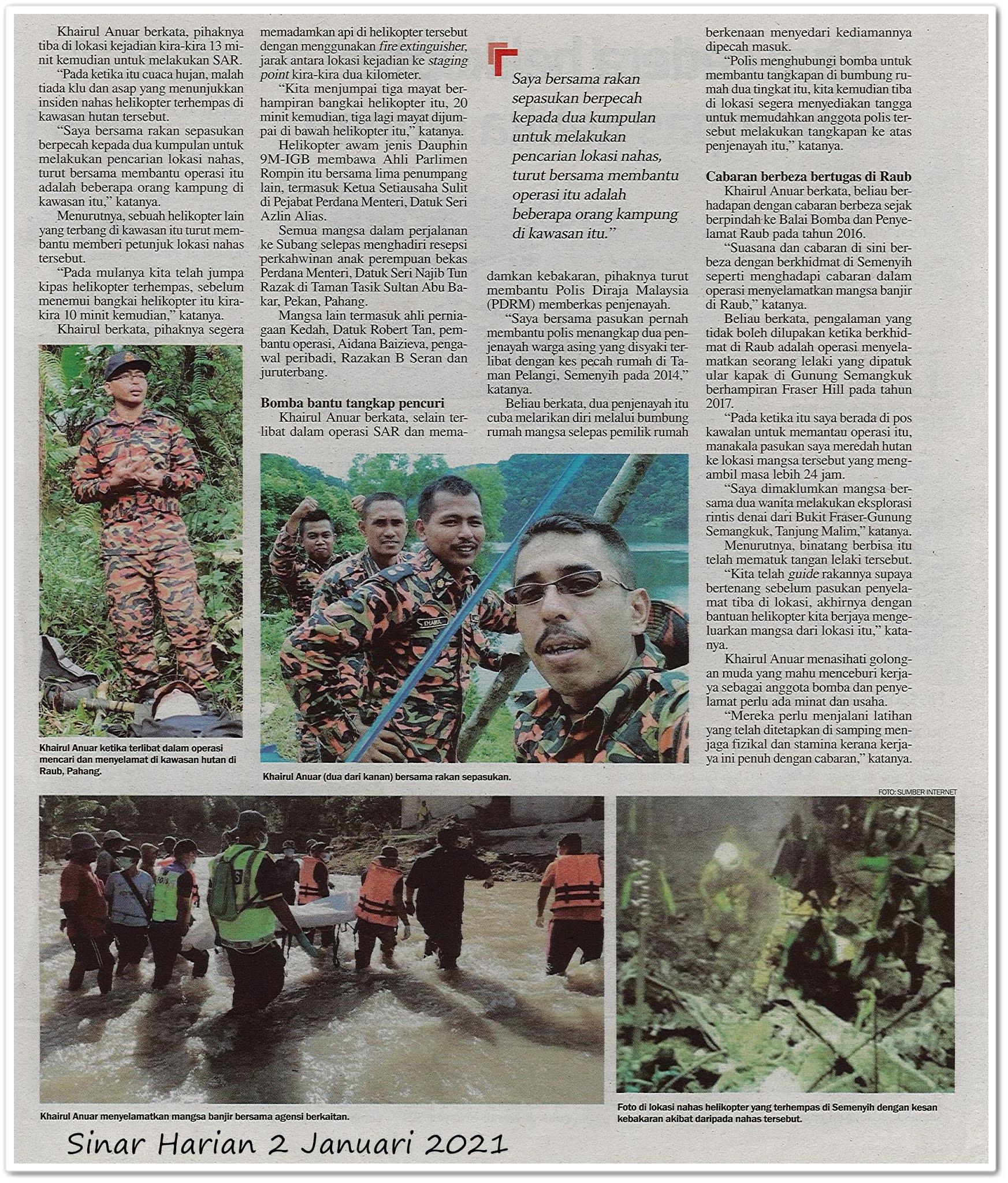 Tugas bomba bukan hanya padam api - Keratan akhbar Sinar Harian 2 Januari 2021
