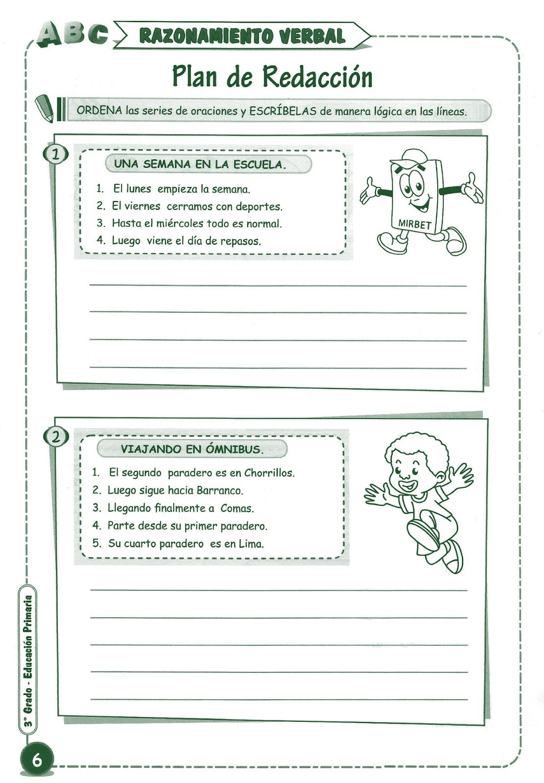 Plan De Redacción Para Niños 3 Grado Primaria Razonamiento Verbal