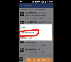 Cara Menghapus Komentar Di Facebook Lite Android/IOS