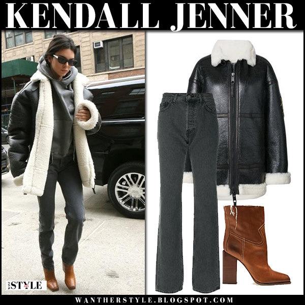 Kendall Jenner in black leather jacket vera wang, grey jeans and brown boots saint laurent jodie street fashion january 27