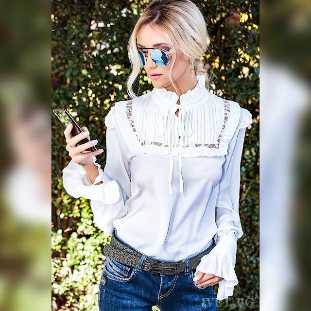 Μοντέρνο  άσπρο γυναικείο πουκάμισο MAVIS