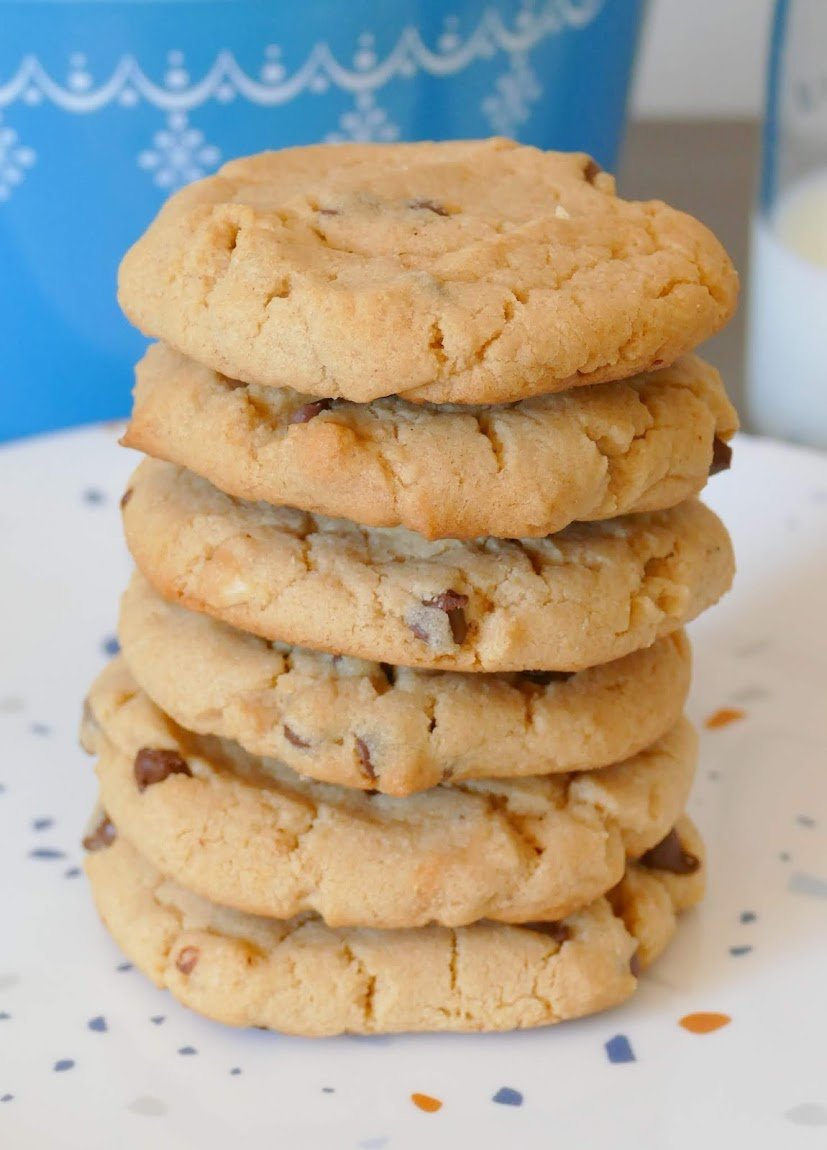 These amazing cookies are the perfect treat for dessert, after school snacks or to cure your sweet tooth craving. The combination of chunky peanut butter and mini chocolate chips make the perfect texture and chewy consistency. These are such a family favorite at our house!