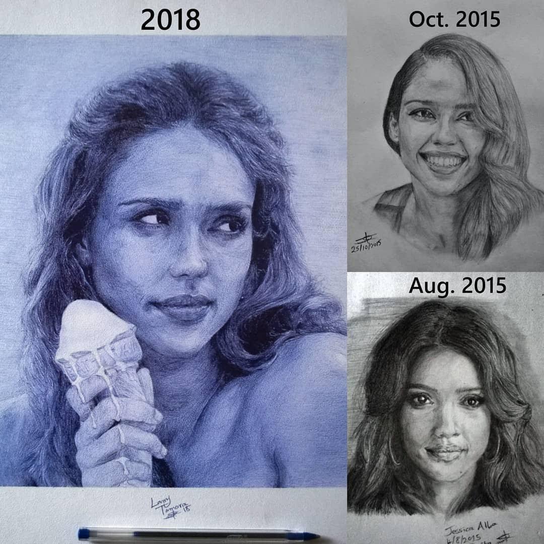 06-Jessica-Alba-progress-Larry-Tamara-Ballpoint-Pen-Portraits-Progression-Drawings-www-designstack-co