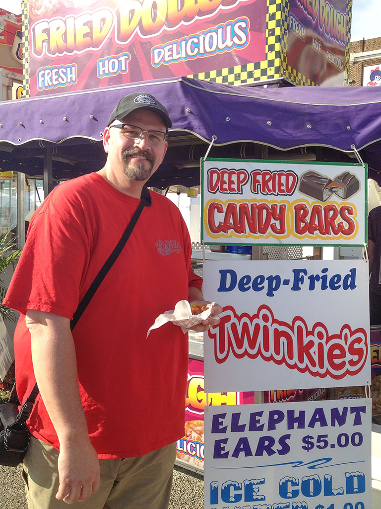 Bubba tries a fried Twinkie at the York Fair
