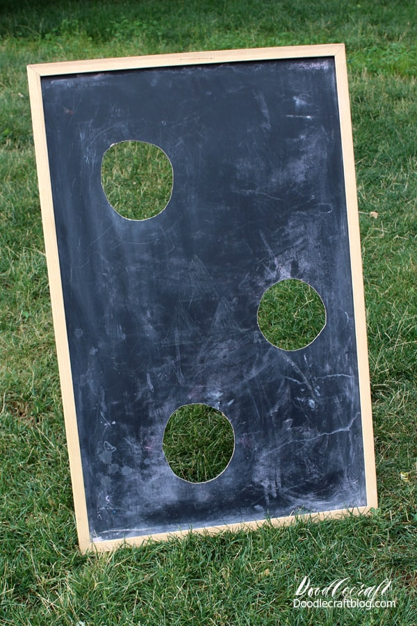Bean bag toss game for party or carnival made from upcycled chalkboard