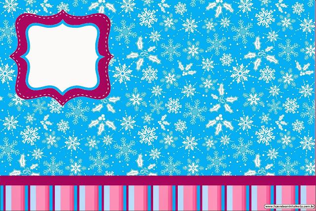 Para hacer invitaciones, tarjetas, marcos de fotos o etiquetas, para imprimir gratis de Frozen en Morado y Celeste para Navidad.