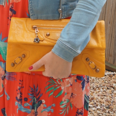 floral maxi dress, Balenciaga envelope clutch in 2012 mangue with giant 12 RGGH | away from the blue