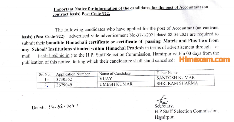 Important Notice For The Post Of Accountant (POST CODE-922)-HPSSC Hamirpur