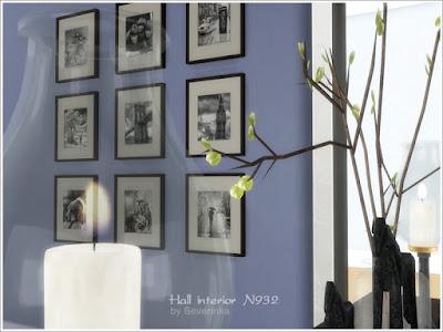 Hall interior N932 Интерьер холла N932 для The Sims 4 Набор мебели и декора в классическом стиле, внутренняя отделка зала, прихожей, гостиной. Строгие оттенки, текстура старого дерева и спортивные предметы - отлично подойдут для оформления интерьера в мужском стиле. В набор входят 23 предмета: - длинный консольный стол из старого дерева - Старый сундук - оригинальные свечи в канделябрах со стеклянным колпачком - ветки в стеклянной банке - Зонт-трость - Старая книга (2 варианта) - шахматы - спортивные мячи (2 варианта) - статуэтки лошадей (2 варианта) - Деревянная табличка на стену (2 варианта) - Деревянная буква N - Резные деревянные панели - картина с ретро черно-белыми фотографиями (7 вариантов) Автор:Severinka_