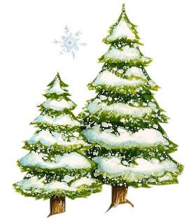 Arboles de navidad bajo la nieve